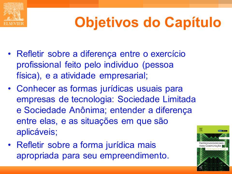 Objetivos do Capítulo• Refletir sobre a diferença entre o exercício profissional feito pelo individuo (pessoa física), e a atividade empresarial;