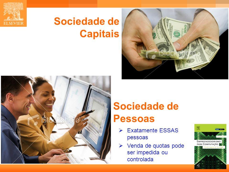 Sociedade de Capitais Sociedade de Pessoas Exatamente ESSAS pessoas