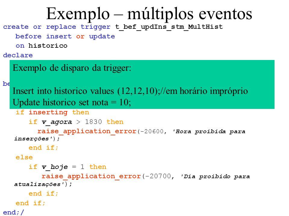 Exemplo – múltiplos eventos