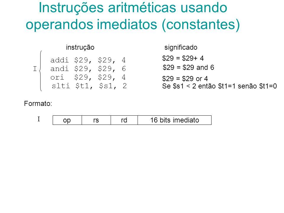 Instruções aritméticas usando operandos imediatos (constantes)