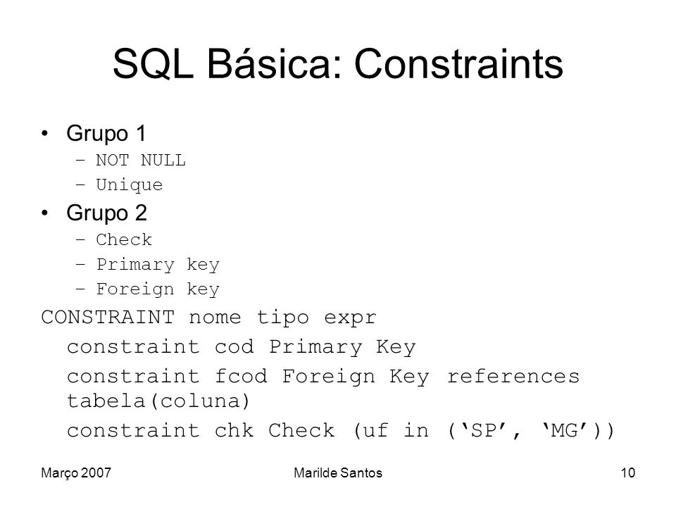 SQL Básica: Constraints