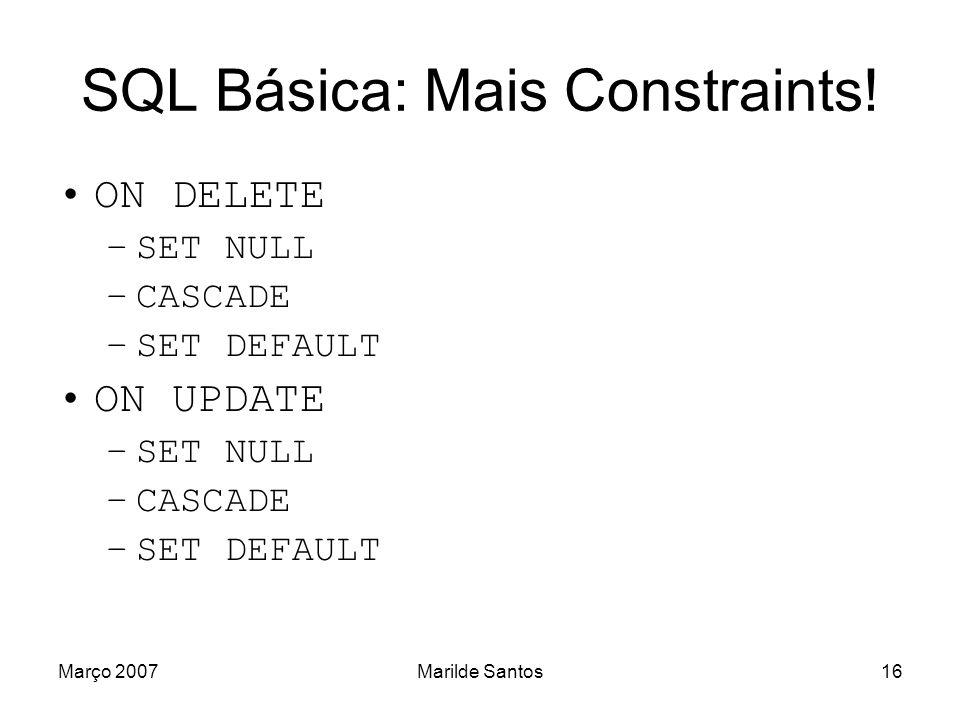 SQL Básica: Mais Constraints!
