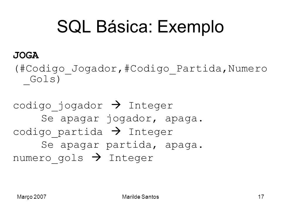 SQL Básica: Exemplo JOGA (#Codigo_Jogador,#Codigo_Partida,Numero_Gols)