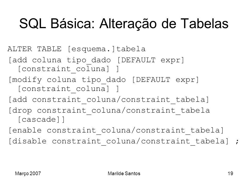 SQL Básica: Alteração de Tabelas