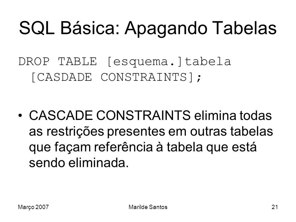 SQL Básica: Apagando Tabelas
