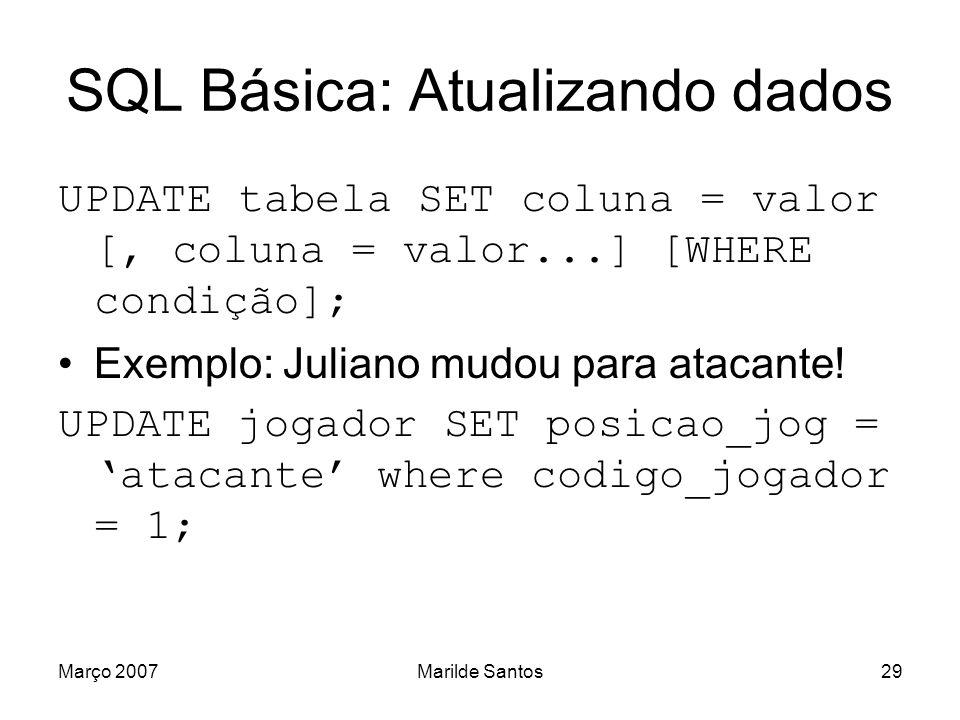 SQL Básica: Atualizando dados