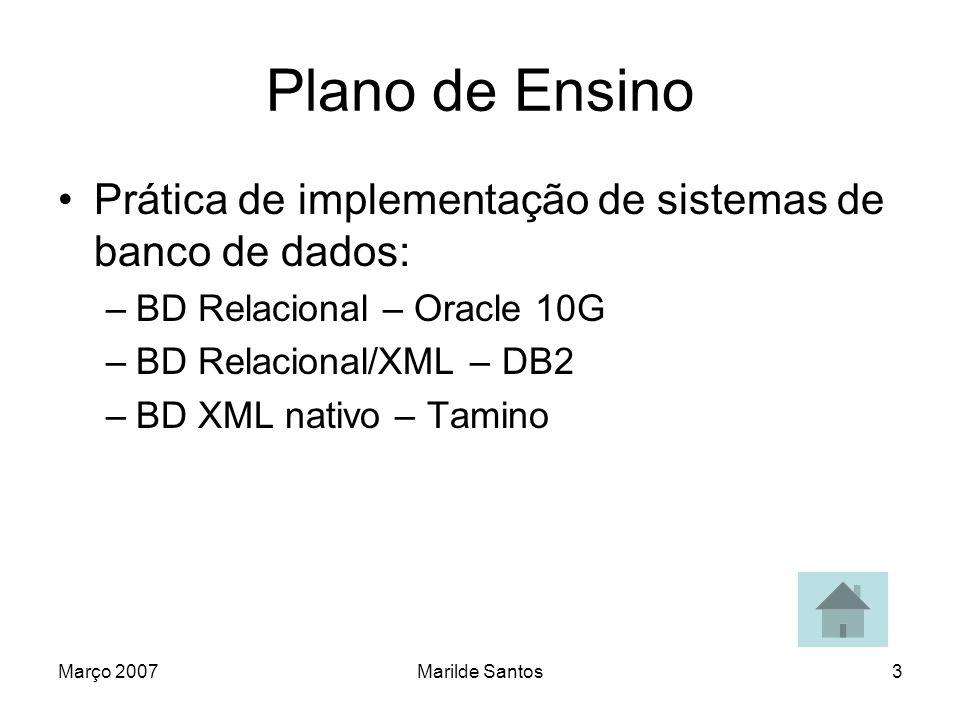 Plano de Ensino Prática de implementação de sistemas de banco de dados: BD Relacional – Oracle 10G.