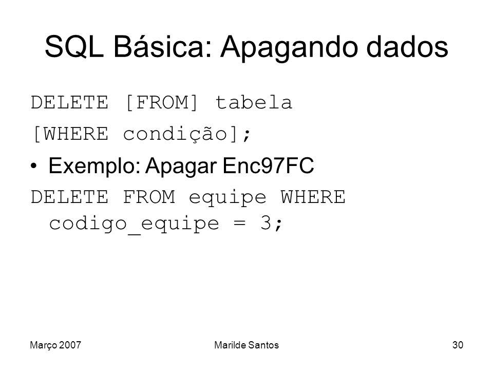 SQL Básica: Apagando dados
