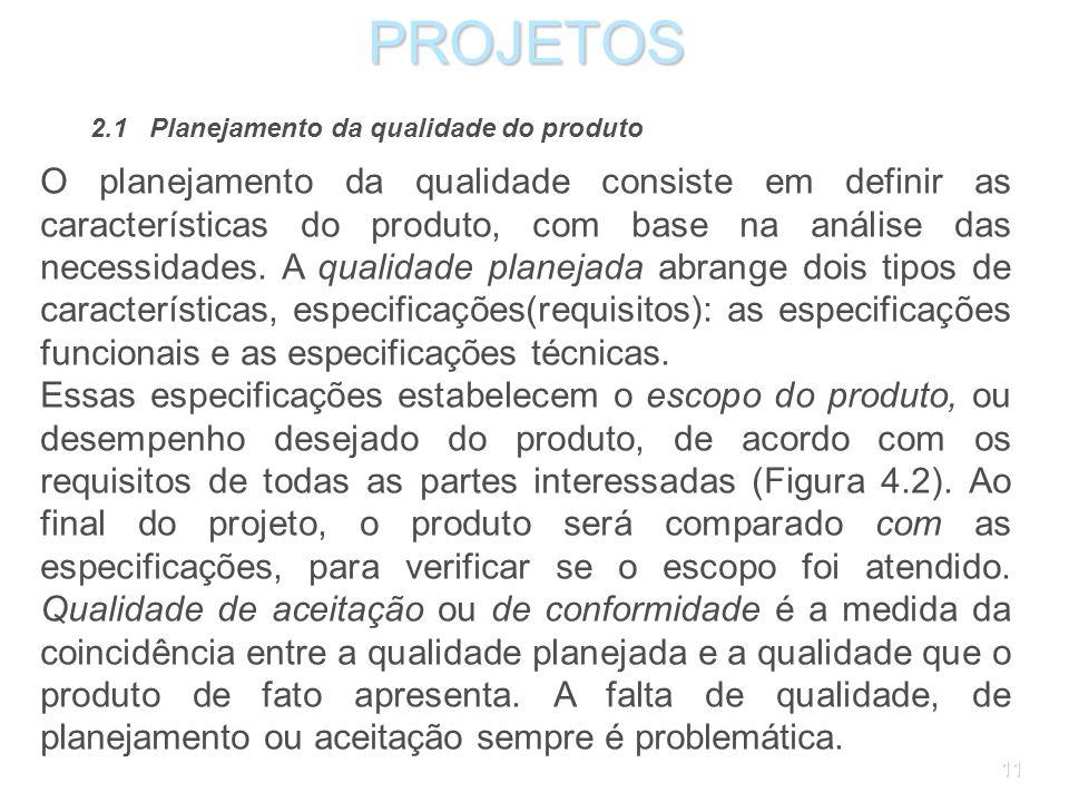 PROJETOS 2.1 Planejamento da qualidade do produto.