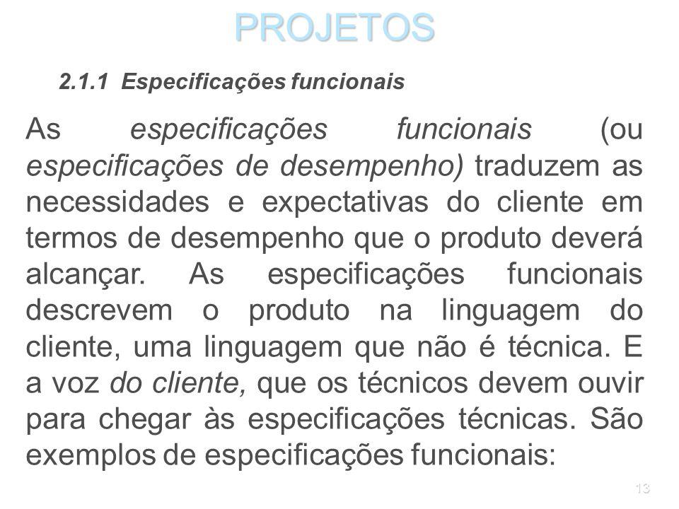 PROJETOS 2.1.1 Especificações funcionais.