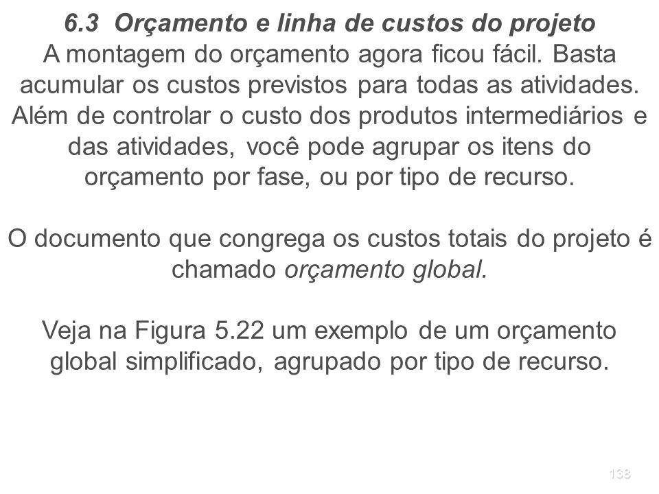 6.3 Orçamento e linha de custos do projeto