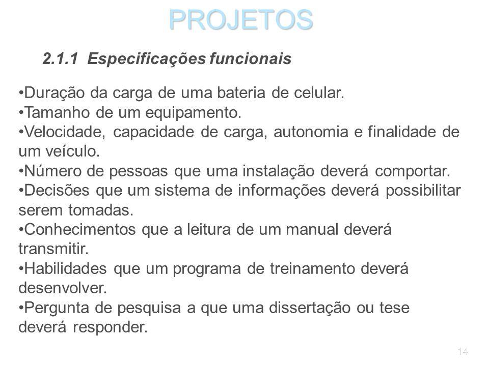 PROJETOS 2.1.1 Especificações funcionais