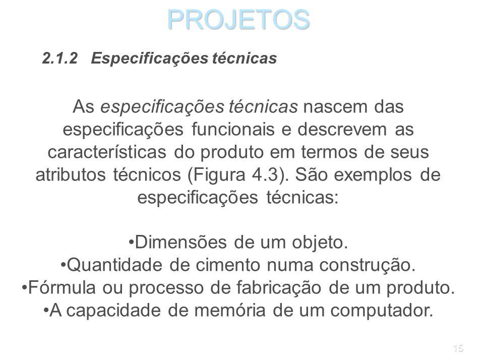 PROJETOS 2.1.2 Especificações técnicas.