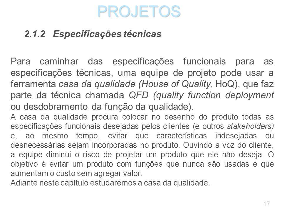 PROJETOS 2.1.2 Especificações técnicas