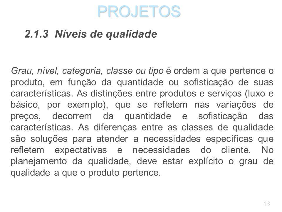 PROJETOS 2.1.3 Níveis de qualidade