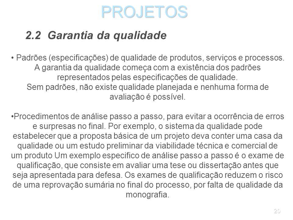 PROJETOS 2.2 Garantia da qualidade