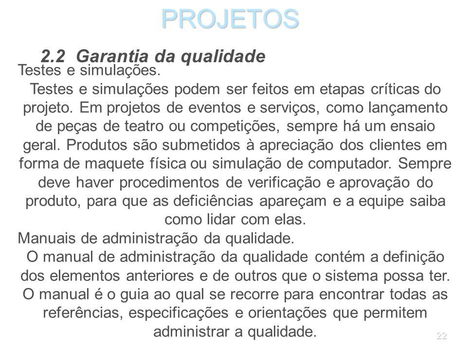 PROJETOS 2.2 Garantia da qualidade Testes e simulações.