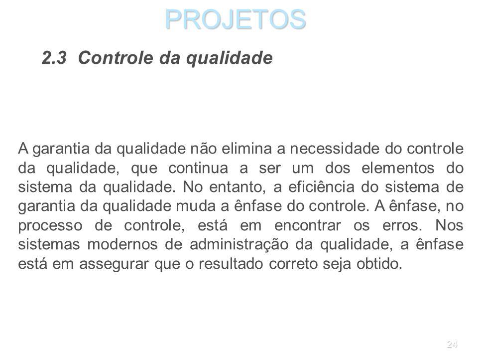 PROJETOS 2.3 Controle da qualidade