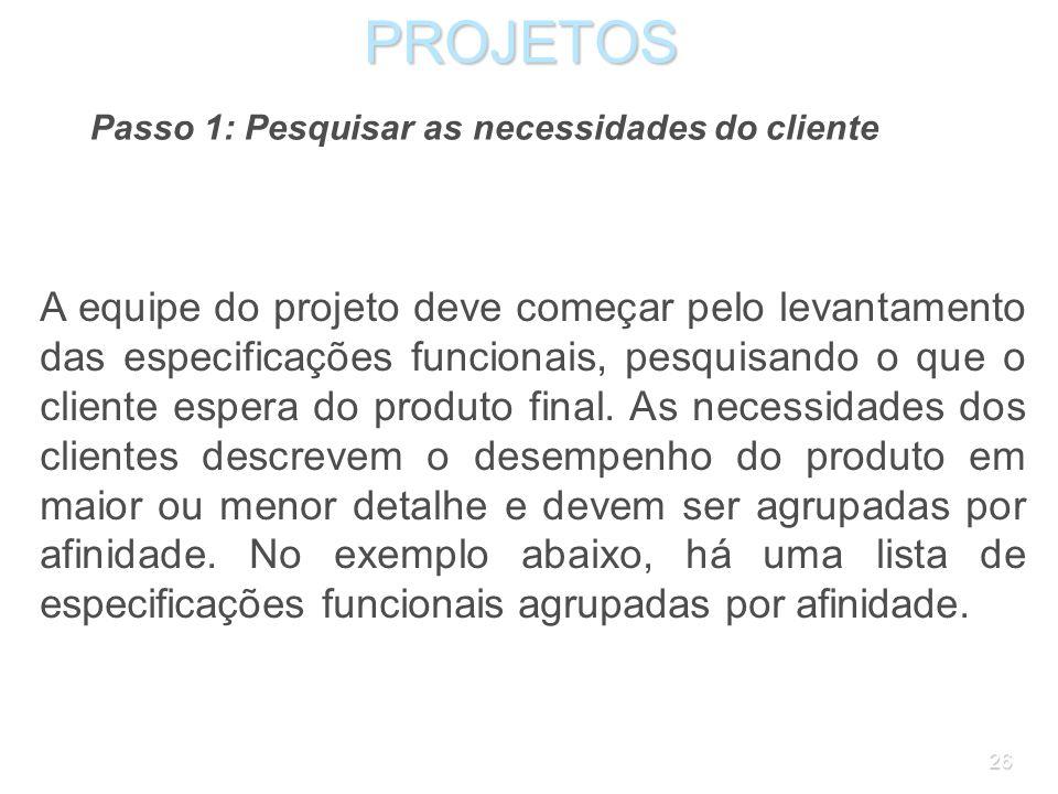 PROJETOSPasso 1: Pesquisar as necessidades do cliente.