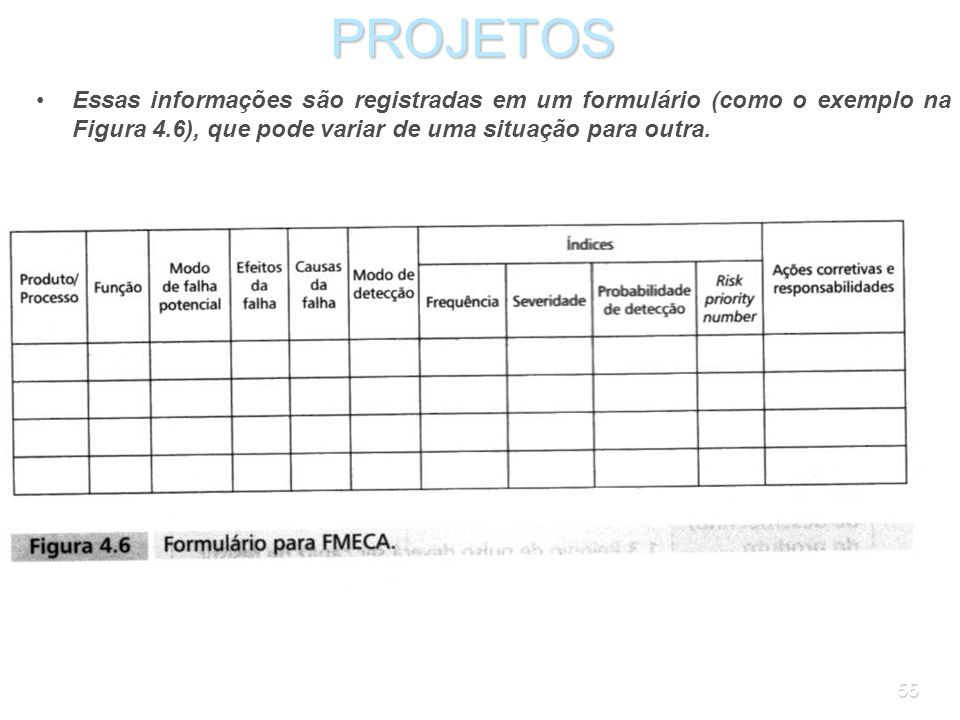 PROJETOS Essas informações são registradas em um formulário (como o exemplo na Figura 4.6), que pode variar de uma situação para outra.