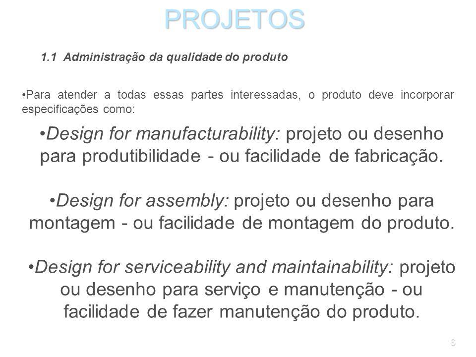 PROJETOS 1.1 Administração da qualidade do produto. Para atender a todas essas partes interessadas, o produto deve incorporar especificações como: