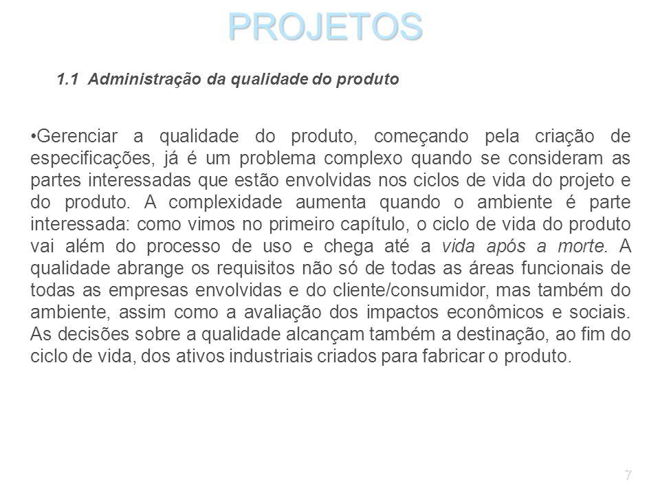 PROJETOS 1.1 Administração da qualidade do produto.