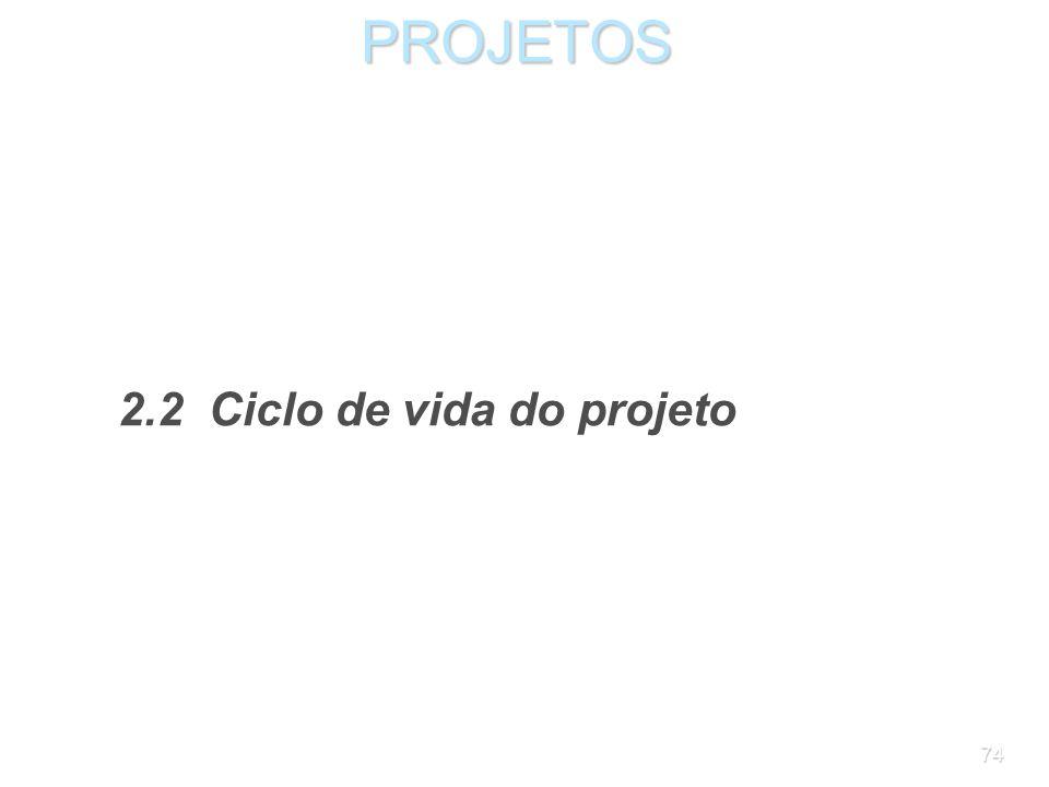 PROJETOS 2.2 Ciclo de vida do projeto