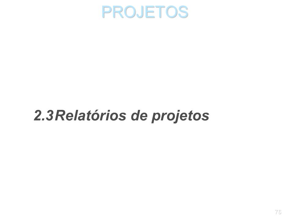 PROJETOS 2.3 Relatórios de projetos