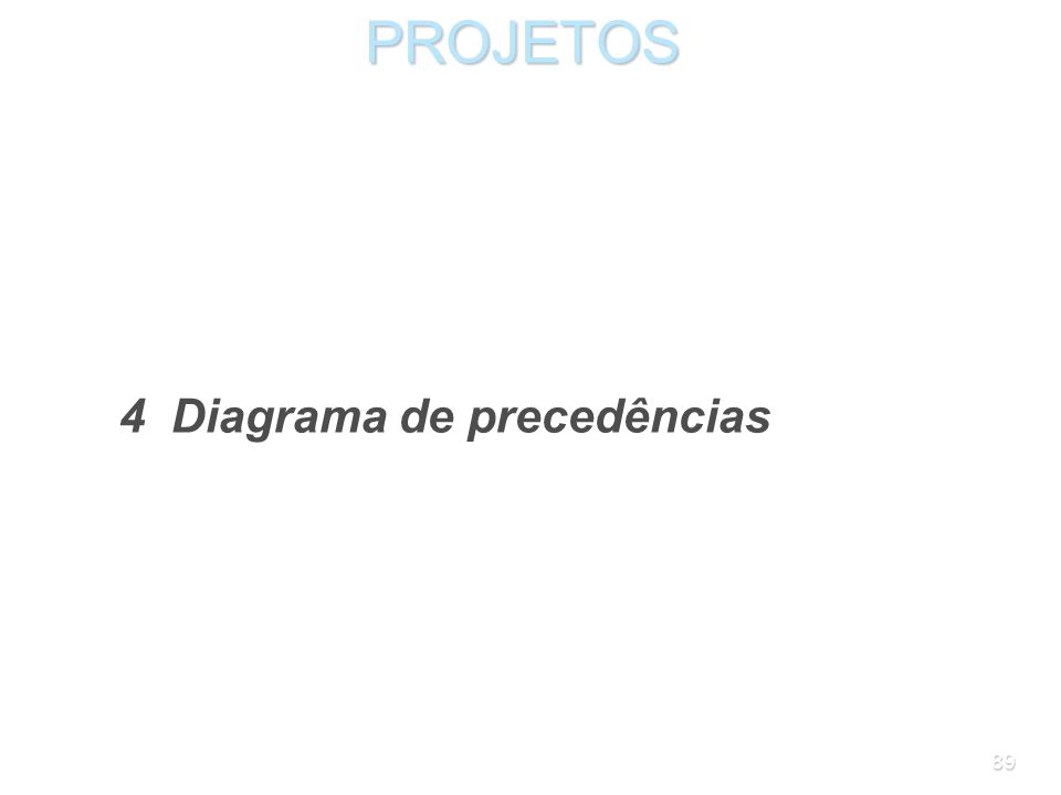 PROJETOS 4 Diagrama de precedências