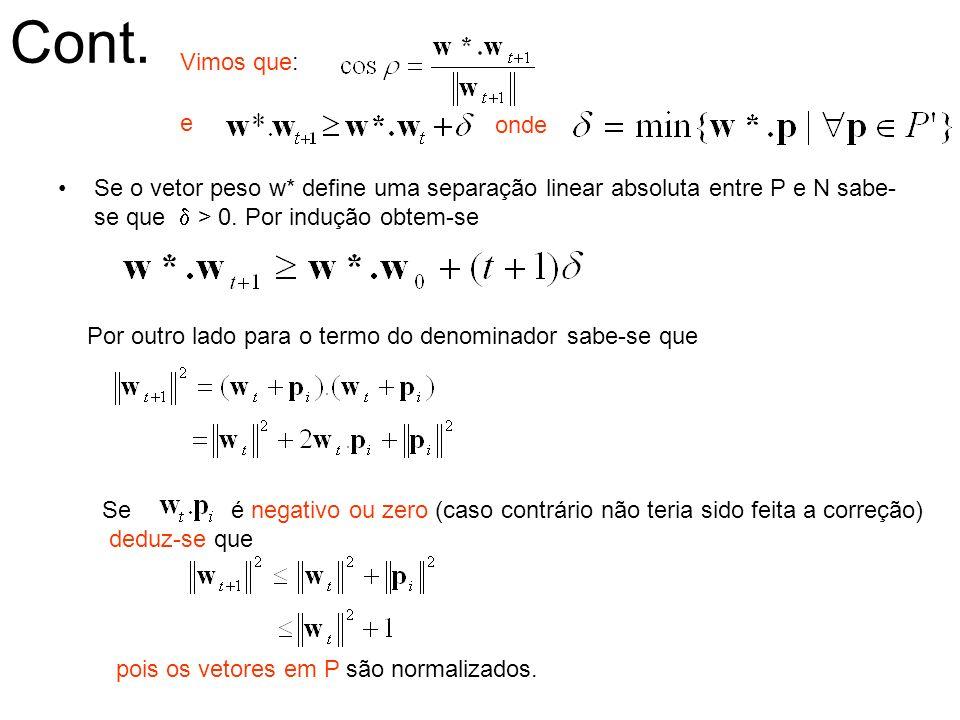 Cont. Vimos que: e. onde. Se o vetor peso w* define uma separação linear absoluta entre P e N sabe-se que d > 0. Por indução obtem-se.