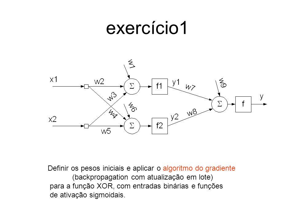 exercício1 Definir os pesos iniciais e aplicar o algoritmo do gradiente. (backpropagation com atualização em lote)