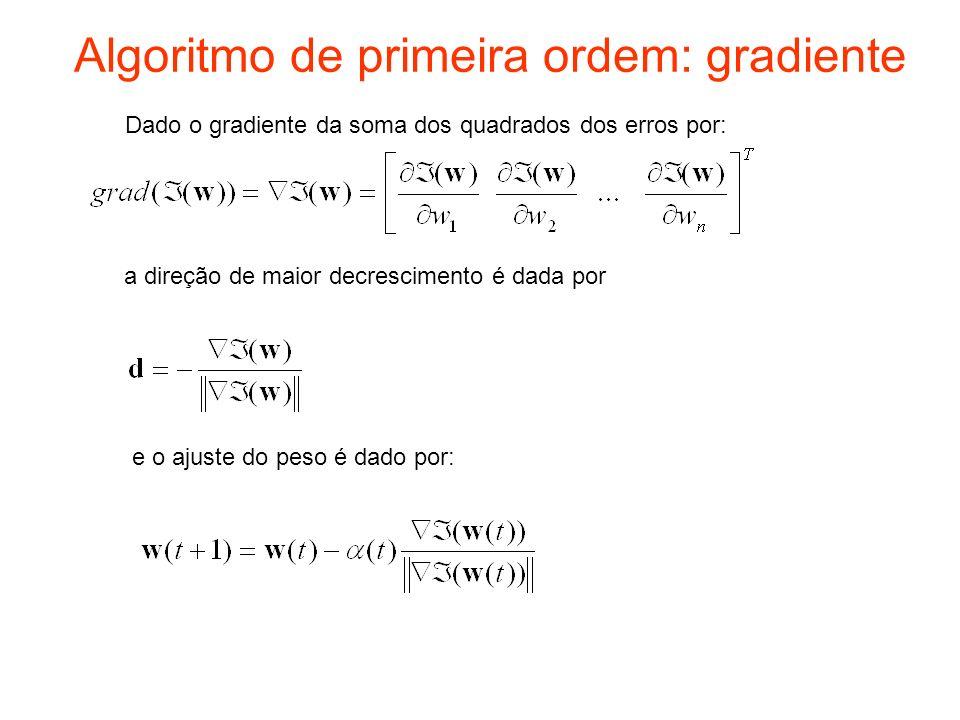 Algoritmo de primeira ordem: gradiente