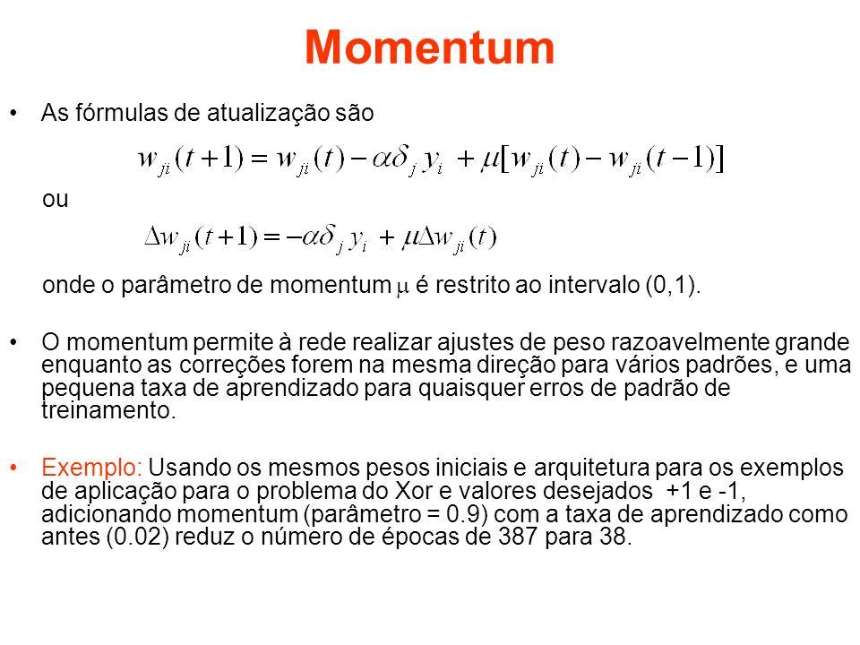 Momentum As fórmulas de atualização são ou