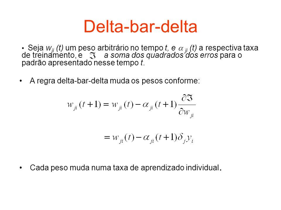 Delta-bar-delta A regra delta-bar-delta muda os pesos conforme: