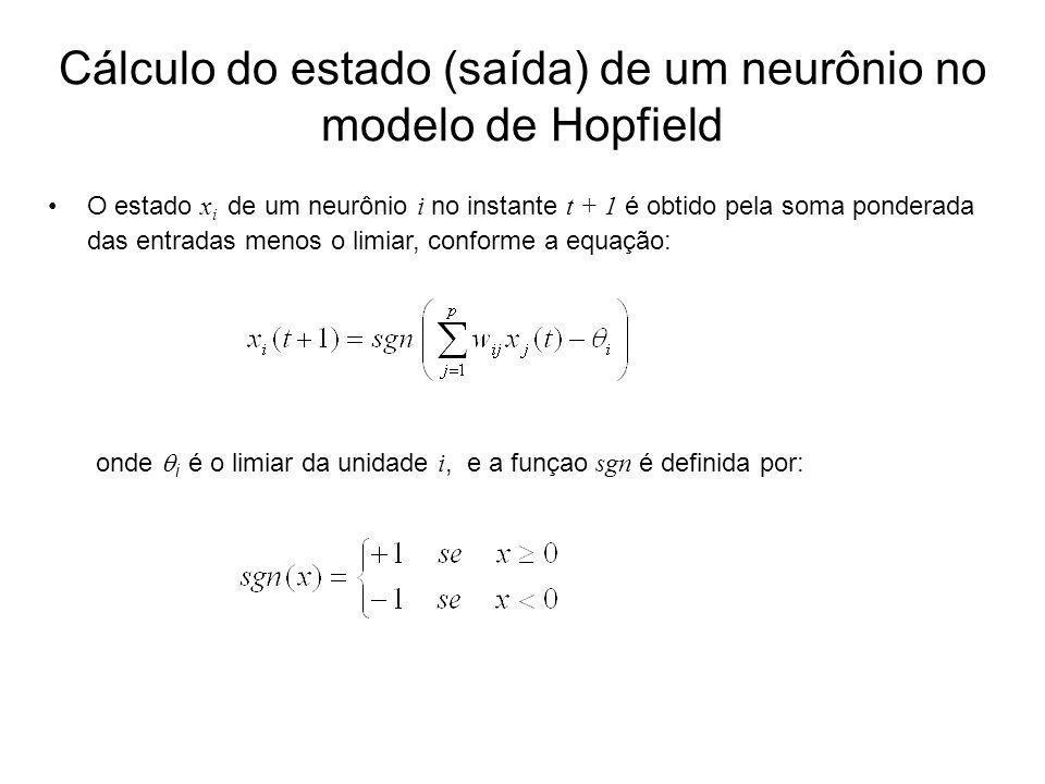 Cálculo do estado (saída) de um neurônio no modelo de Hopfield