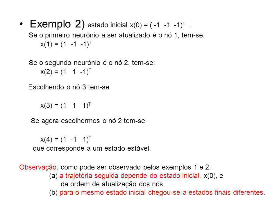 Exemplo 2) estado inicial x(0) = ( -1 -1 -1)T .