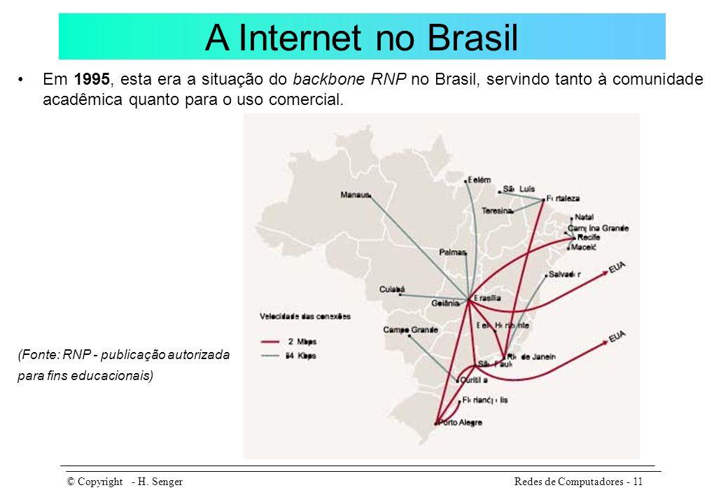 A Internet no Brasil Em 1995, esta era a situação do backbone RNP no Brasil, servindo tanto à comunidade acadêmica quanto para o uso comercial.