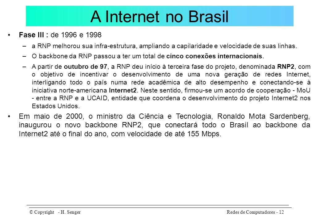 A Internet no Brasil Fase III : de 1996 e 1998