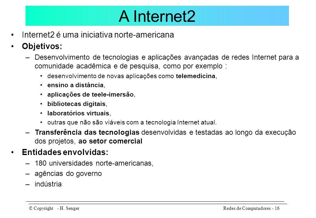 A Internet2 Internet2 é uma iniciativa norte-americana Objetivos: