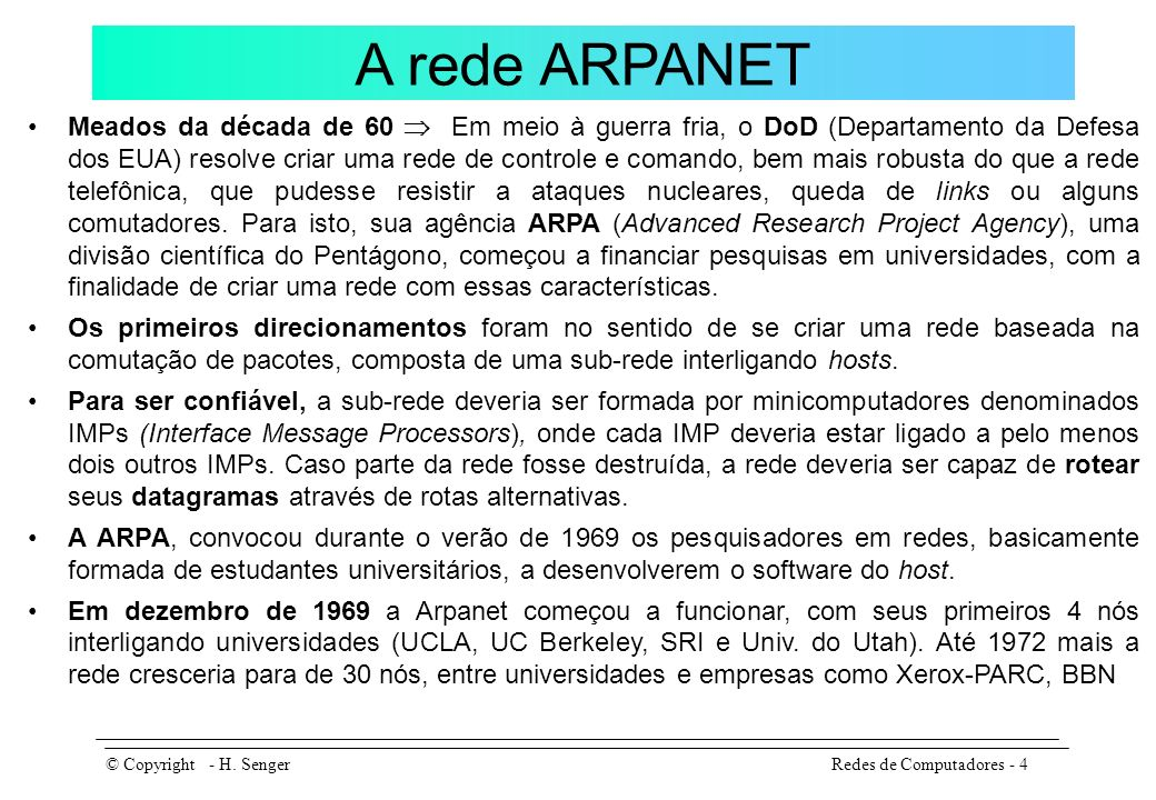 A rede ARPANET