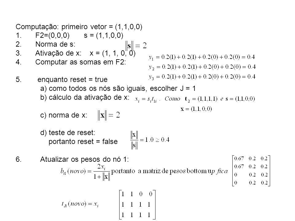Computação: primeiro vetor = (1,1,0,0)