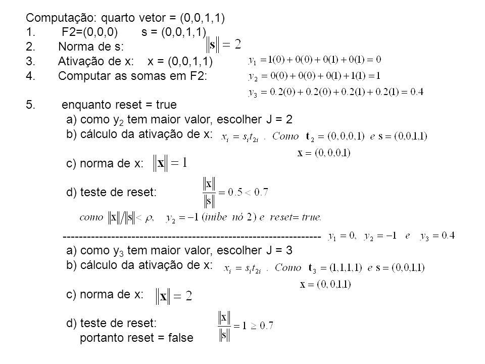 Computação: quarto vetor = (0,0,1,1)
