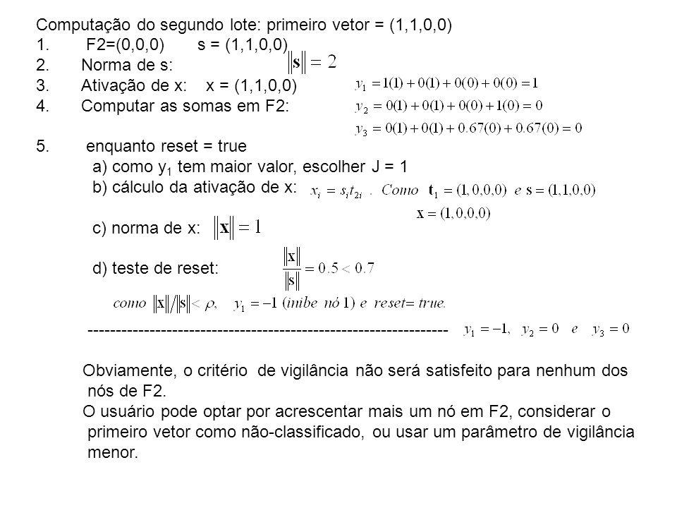 Computação do segundo lote: primeiro vetor = (1,1,0,0)
