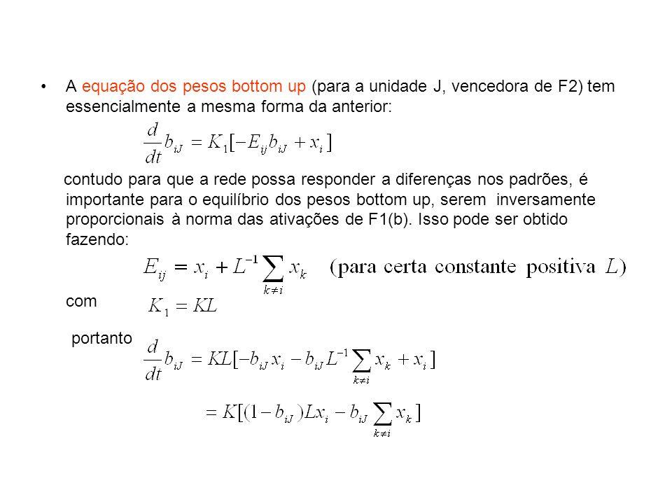 A equação dos pesos bottom up (para a unidade J, vencedora de F2) tem essencialmente a mesma forma da anterior: