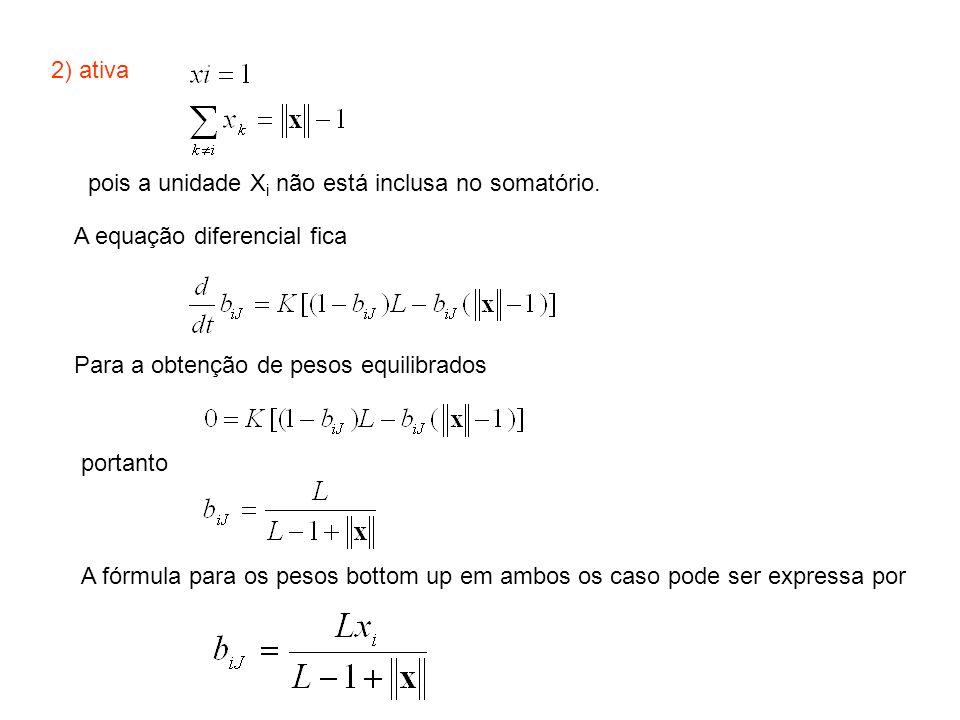 2) ativa pois a unidade Xi não está inclusa no somatório. A equação diferencial fica. Para a obtenção de pesos equilibrados.