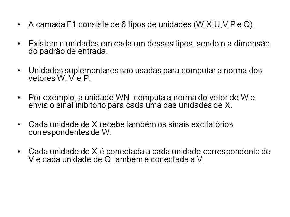 A camada F1 consiste de 6 tipos de unidades (W,X,U,V,P e Q).