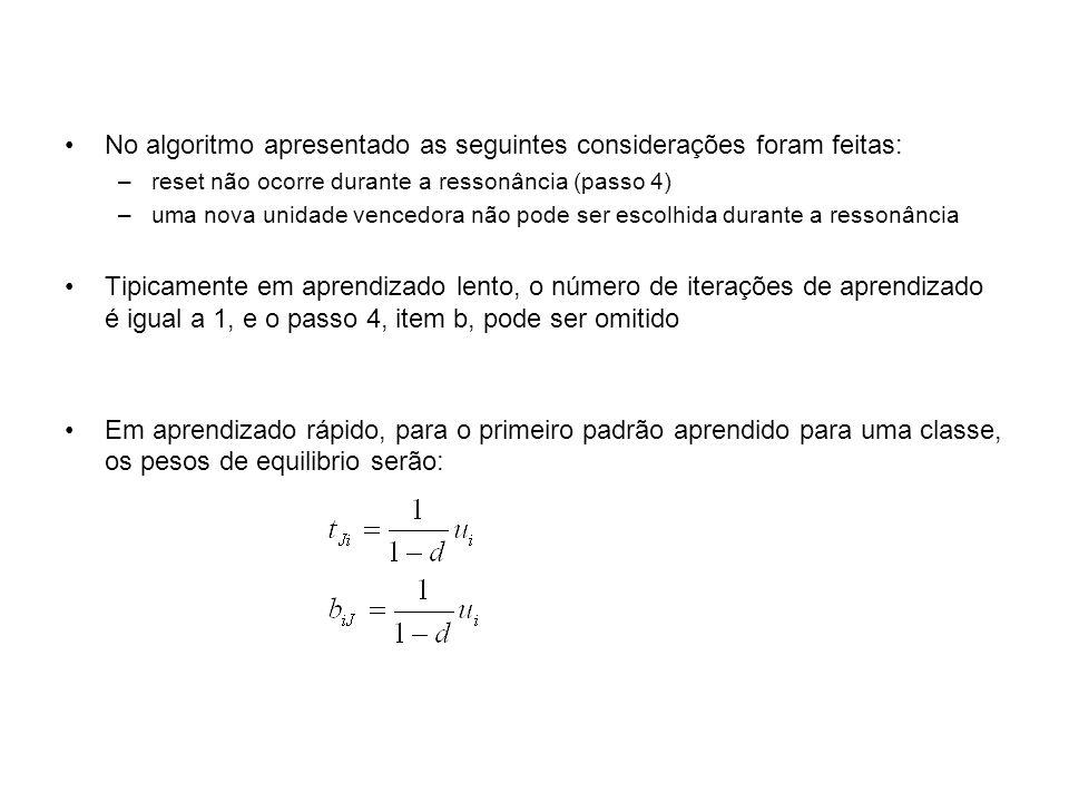No algoritmo apresentado as seguintes considerações foram feitas: