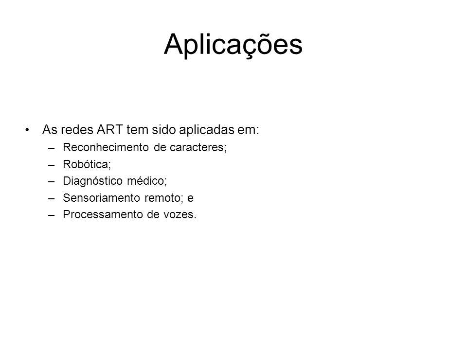Aplicações As redes ART tem sido aplicadas em: