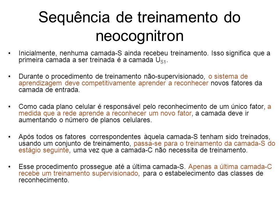 Sequência de treinamento do neocognitron