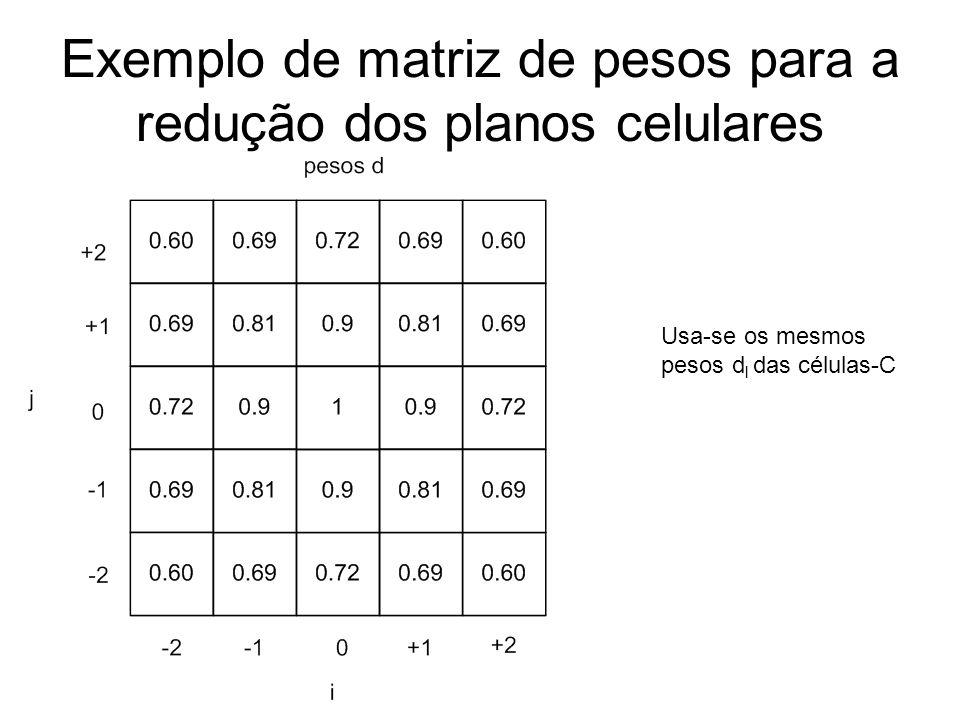 Exemplo de matriz de pesos para a redução dos planos celulares